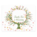 Árbol de familia floreciente tarjeta postal