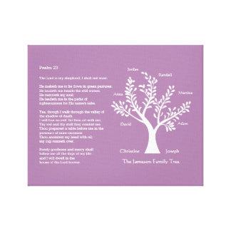 Árbol de familia más del salmo 23 lienzo envuelto para galerias