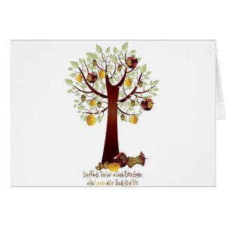 Árbol de familia putrefacto divertido de Apple Tarjeta De Felicitación
