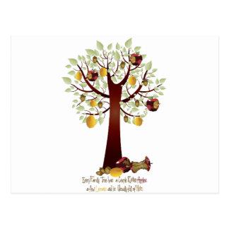 Árbol de familia putrefacto divertido de Apple Tarjeta Postal