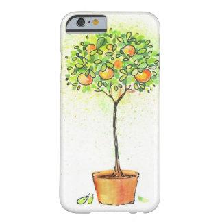 Árbol de fruta cítrica pintado de la acuarela en funda de iPhone 6 barely there