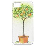 Árbol de fruta cítrica pintado de la acuarela en p iPhone 5 protector