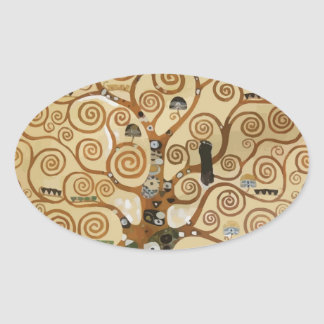 Árbol de Gustavo Klimt de la vida Calcomania De Oval Personalizadas