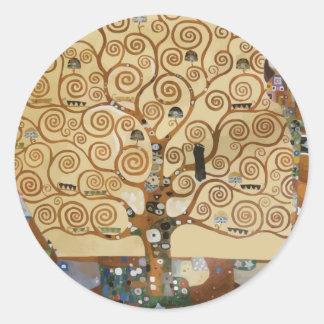 Árbol de Gustavo Klimt de la vida Etiquetas Redondas