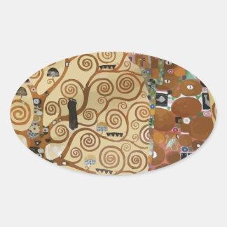 Árbol de Gustavo Klimt de la vida Calcomanías Ovaladas Personalizadas