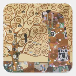 Árbol de Gustavo Klimt de la vida Pegatina Cuadradas Personalizadas