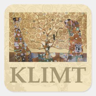 Árbol de Gustavo Klimt de la vida Calcomanía Cuadrada