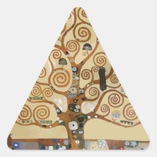 Árbol de Gustavo Klimt de la vida Calcomanías Triangulos