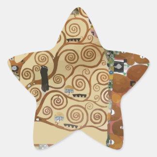 Árbol de Gustavo Klimt de la vida Calcomanía Forma De Estrella Personalizada