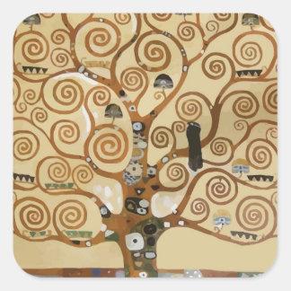 Árbol de Gustavo Klimt de la vida Pegatinas Cuadradases