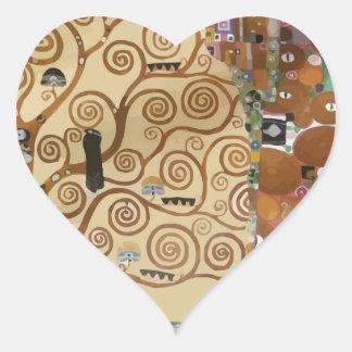 Árbol de Gustavo Klimt de la vida Pegatina De Corazon