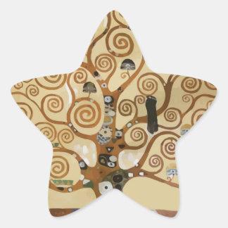 Árbol de Gustavo Klimt de la vida Calcomanías Forma De Estrella