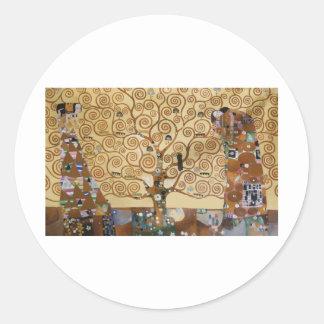 Árbol de Gustavo Klimt de la vida Pegatinas Redondas