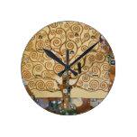 Árbol de Gustavo Klimt de la vida Reloj Redondo Mediano