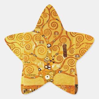 Árbol de Gustavo Klimt del arte Nouveau de la vida Pegatina Forma De Estrella Personalizada