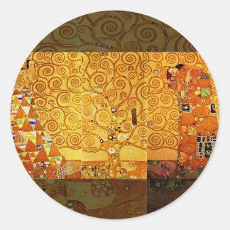 Árbol de Gustavo Klimt del arte Nouveau de la vida Pegatinas Redondas