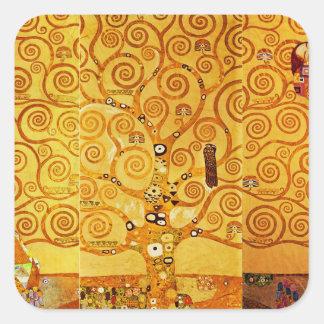 Árbol de Gustavo Klimt del arte Nouveau de la vida Calcomanías Cuadradases