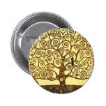 Árbol de Gustavo Klimt del botón de la vida Pin Redondo De 2 Pulgadas