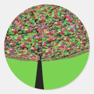 Árbol de haba de jalea pegatina redonda