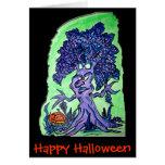 Árbol de Halloween de la tarjeta de Halloween