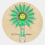 Árbol de Hermes de la alquimia Pegatina Redonda