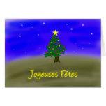 Árbol de hoja perenne de Navidad - francés Felicitacion