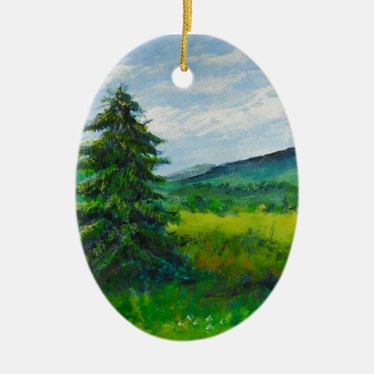 Árbol de hoja perenne del campo, pintura de adorno navideño ovalado de cerámica