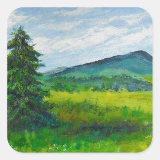 Árbol de hoja perenne del campo, pintura de pegatina cuadrada