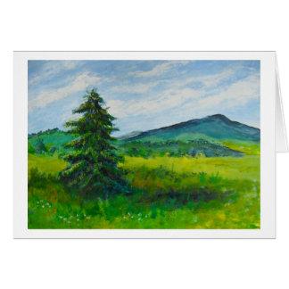 Árbol de hoja perenne del campo, pintura de tarjeta de felicitación