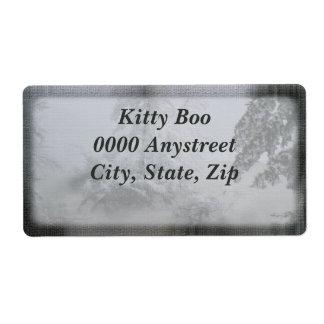 Árbol de hoja perenne del día de fiesta grande etiquetas de envío
