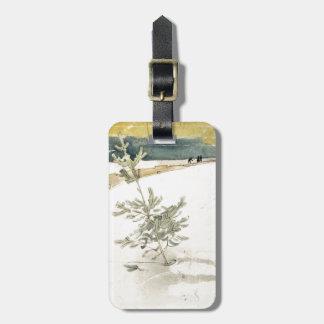 Árbol de hoja perenne etiqueta para maleta