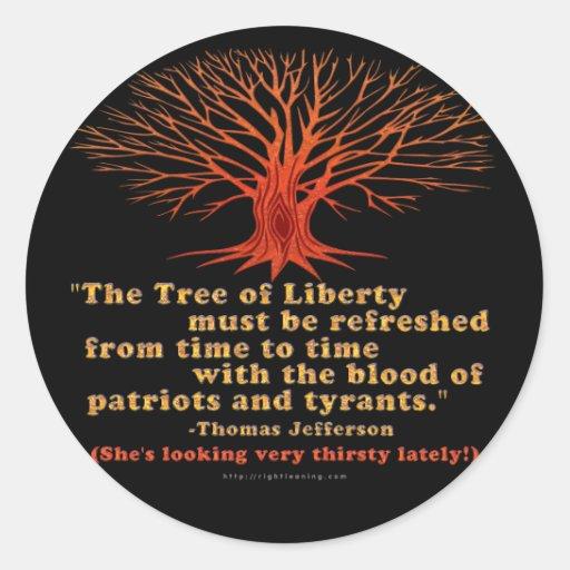 Árbol de Jefferson de la libertad Pegatina Redonda