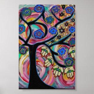 Árbol de Judaica Hamsa del poster de la puesta del
