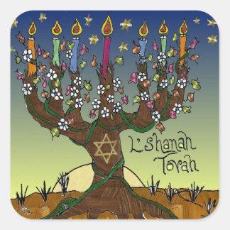Árbol de Judaica L'shanah Tovah de la ropa de los Pegatina Cuadrada