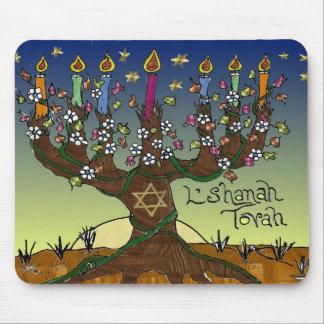 Árbol de Judaica L'shanah Tovah de la ropa de los  Tapete De Ratones