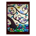 Árbol de Klimt con los pájaros Tarjetas