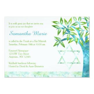 """Árbol de la acuarela del palo Mitzvah del verde Invitación 5"""" X 7"""""""