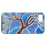 Árbol de la acuarela en azul iPhone 5 Case-Mate cárcasa