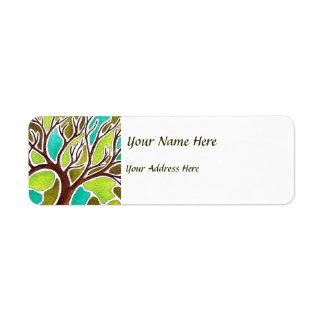 Árbol de la acuarela y de la pluma y de la tinta etiquetas de remite