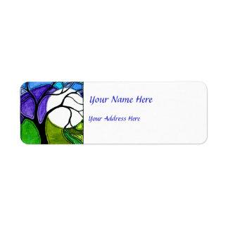 Árbol de la acuarela y verde y púrpura de la luna etiquetas de remite
