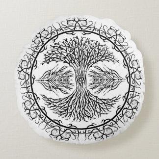"Árbol de la almohada tribal 16"" de la vida cojín redondo"