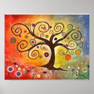 Árbol de la bella arte del arco iris de la pintura posters