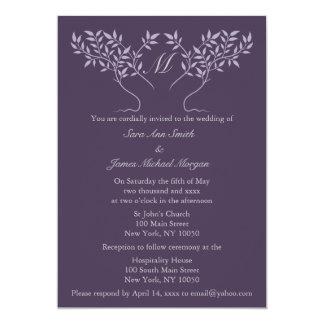 Árbol de la berenjena de la invitación del boda de