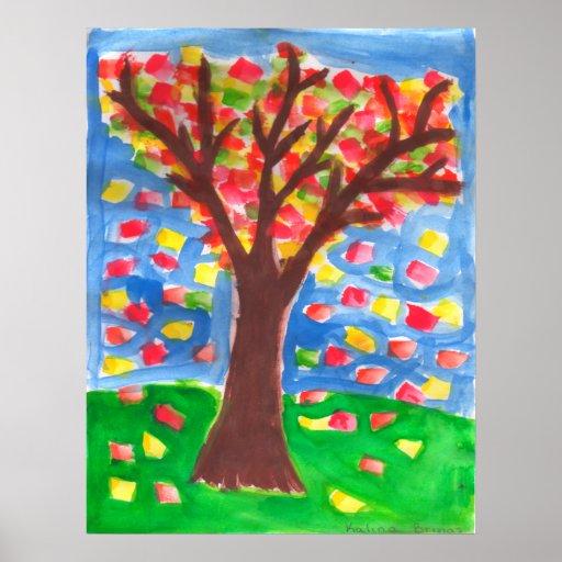 Árbol de la caída - acuarela por Kali B. Posters