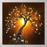 Árbol de la caída del otoño en la puesta del sol impresiones