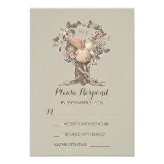 Árbol de la caída que casa las tarjetas de RSVP Invitación 8,9 X 12,7 Cm
