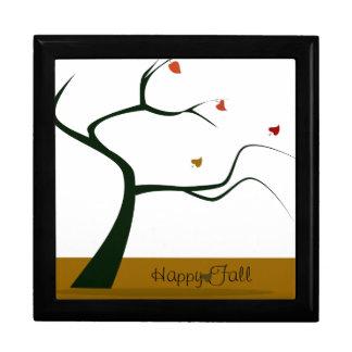 Árbol de la caída y caja de regalo de las hojas joyero cuadrado grande