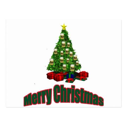 Árbol de la cerveza de las Felices Navidad con los Tarjeta Postal