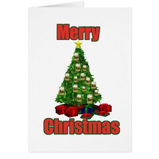 Árbol de la cerveza de las Felices Navidad Tarjeta De Felicitación