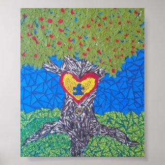 árbol de la conciencia del autismo cortado posters